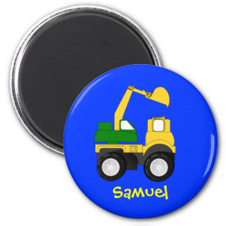 Cartoon Excavator - Personalized Name Gift 2 Inch Round Magnet