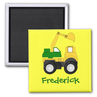 Cartoon Excavator - Personalized Name Gift 2 Inch Square Magnet