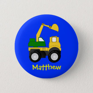 Cartoon Excavator - Personalized Name Gift Button