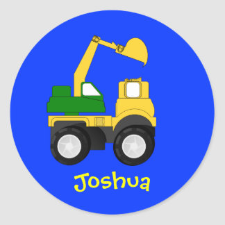 Cartoon Excavator - Personalized Name Gift Classic Round Sticker