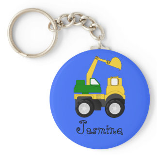 Cartoon Excavator - Personalized Name Gift Keychain