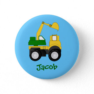 Cartoon Excavator - Personalized Name Gift Pinback Button