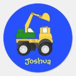 Cartoon Excavator - Personalized Name Gift Classic Round Sticker