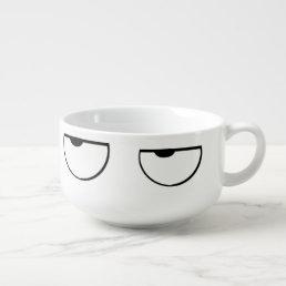 cartoon eyes soup mug