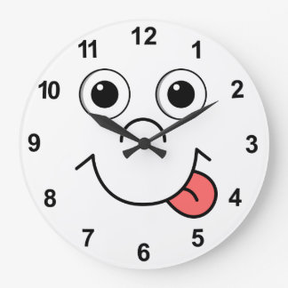 Cartoon face large clock