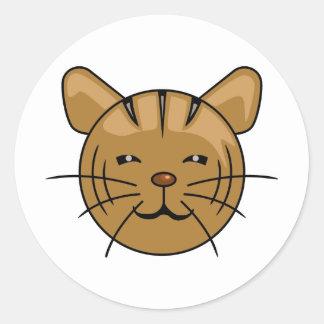 Cartoon Face of House Cat Classic Round Sticker