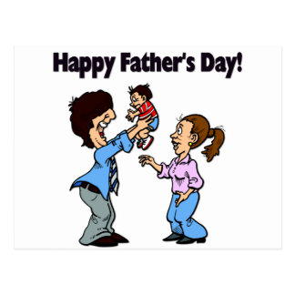 Cartoon Family - Happy Father's Day Postcard