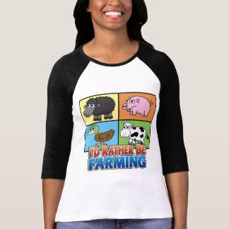 Cartoon Farm Animals - I d rather be farming Tshirt