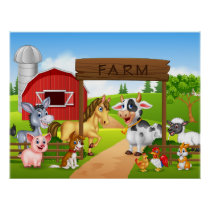 Cartoon farm animals poster