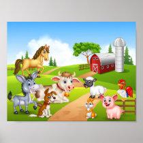 Cartoon farm animals poster