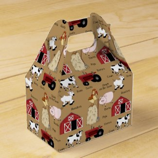 Cartoon Farm pattern Gable favor box