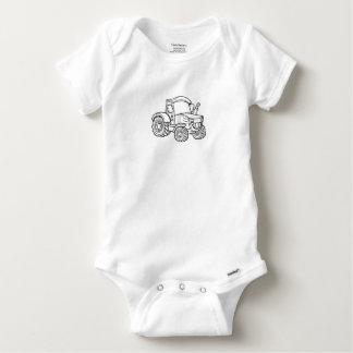 Cartoon Farm Tractor Baby Onesie