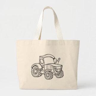Cartoon Farm Tractor Large Tote Bag