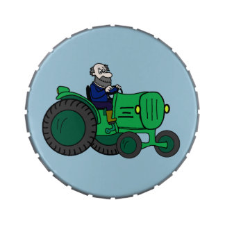Cartoon Farmer and Tractor Candy Tins