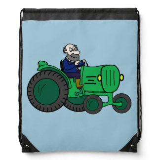 Cartoon Farmer and Tractor Drawstring Backpack