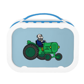 Cartoon Farmer and Tractor Lunch Box