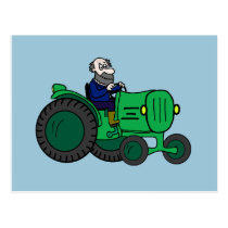 Cartoon Farmer and Tractor Postcard