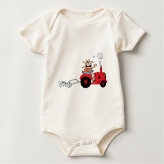 Cartoon Farmer Driving A Red Tractor Baby Bodysuit