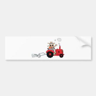 Cartoon Farmer Driving A Red Tractor Bumper Sticker
