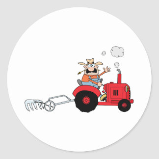 Cartoon Farmer Driving A Red Tractor Classic Round Sticker