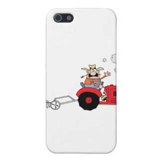 Cartoon Farmer Driving A Red Tractor Cover For iPhone SE/5/5s