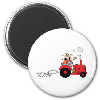 Cartoon Farmer Driving A Red Tractor Magnet
