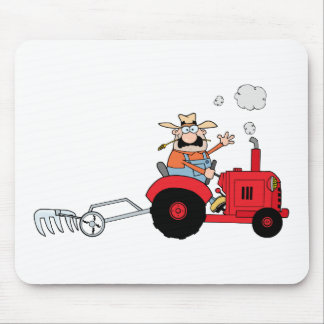 Cartoon Farmer Driving A Red Tractor Mouse Pad