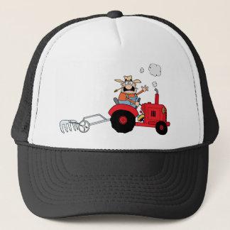 Cartoon Farmer Driving A Red Tractor Trucker Hat
