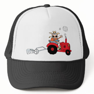 Cartoon Farmer Driving A Red Tractor Trucker Hat