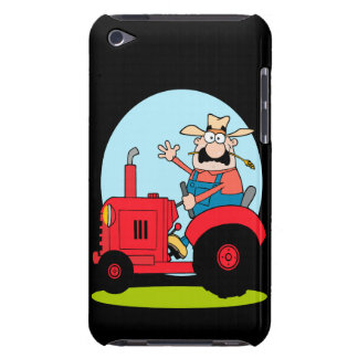 cartoon farmer riding a red tractor barely there iPod cases