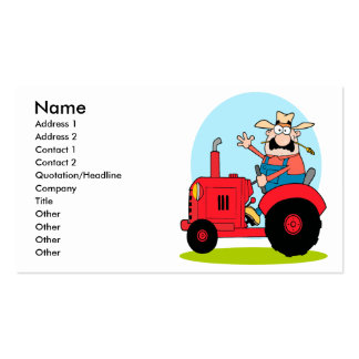 cartoon farmer riding a red tractor business cards