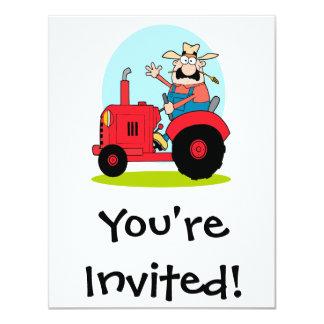 cartoon farmer riding a red tractor card