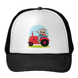 cartoon farmer riding a red tractor trucker hat