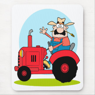 cartoon farmer riding a red tractor mouse pad