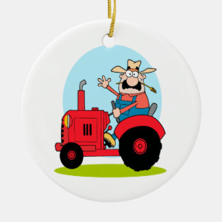 cartoon farmer riding a red tractor Double-Sided ceramic round christmas ornament