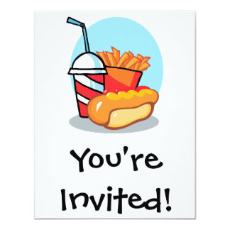 cartoon fast food meal personalized invitations