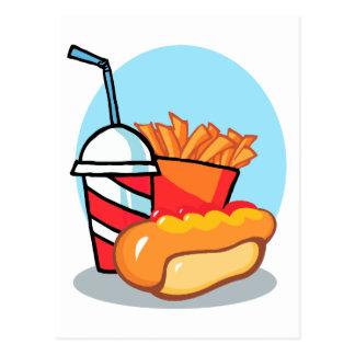 cartoon fast food meal post card