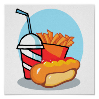 cartoon fast food meal poster