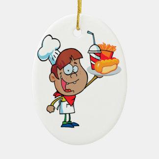 cartoon fast food waiter character ceramic ornament