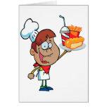 cartoon fast food waiter character greeting card