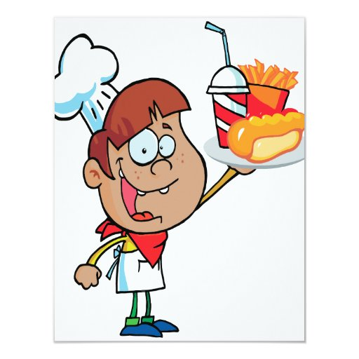 cartoon fast food waiter character 4.25x5.5 paper invitation card