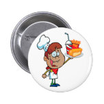 cartoon fast food waiter character pin