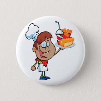 cartoon fast food waiter character pinback button