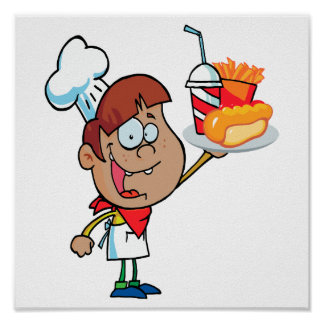 cartoon fast food waiter character poster