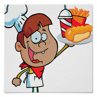 cartoon fast food waiter character posters