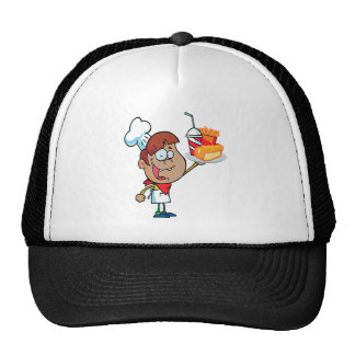 cartoon fast food waiter character trucker hat