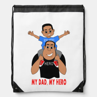 cartoon father and son boy on dad's shoulders drawstring backpack