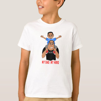 cartoon father and son boy on dad's shoulders T-Shirt