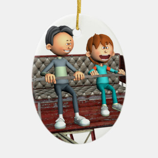 Cartoon Father and Son on a Ferris Wheel Ceramic Ornament