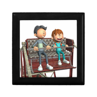 Cartoon Father and Son on a Ferris Wheel Jewelry Box